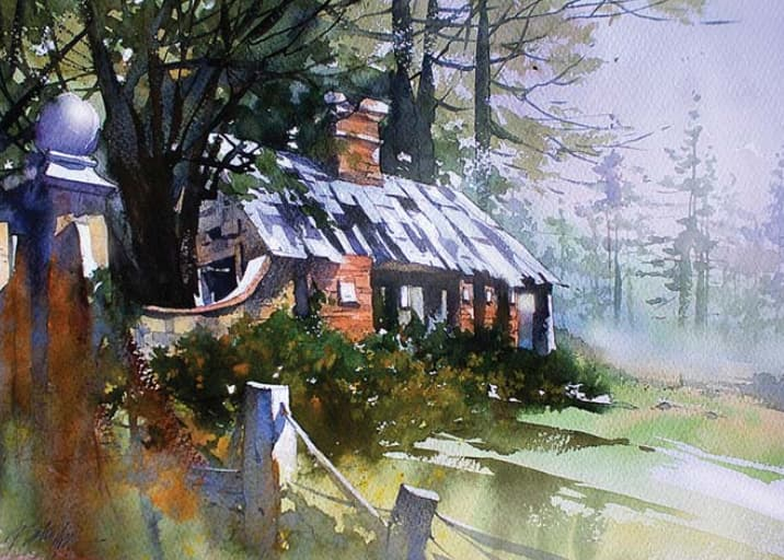 Abandoned Gatehouse—Northern Ireland (watercolor on paper, 13x18) by Thomas W Schaller